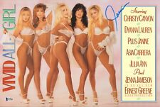 Janine Lindemulder Signed Vivid All Girl 11x17 Centerfold Poster BAS Beckett COA