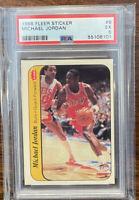 1986 FLEER BASKETBALL STICKER #8 MICHAEL JORDAN RC CHICAGO BULLS PSA 5 EX SWEET