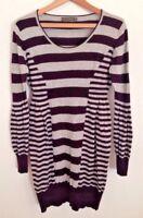 Mint Velvet Cotton Angora Wool Blend Stripe Jumper Dress Plum Grey Casual UK 12