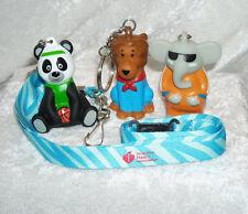 3 AMERICAN Heart ASSOCIATION ZOO CREW Keychains-LION,Elephant & PANDA w/LANYARD