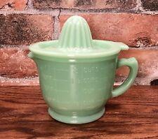 Jadeite Art Deco Green Milk Glass Juicer & 2 Cup Measuring Cup