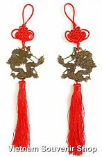 Set 2 Feng shui coin- Handmade lucky coin with Dragon -Hanging Wall Decoration