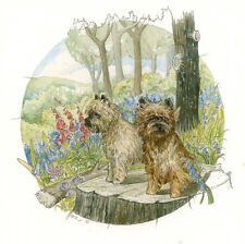 """CAIRN TERRIER SCOTTISH DOG FINE ART LIMITED EDITION PRINT - """"On the Tree Stump"""""""