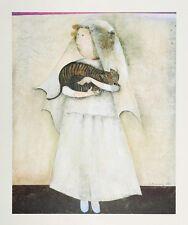 BRIDE AND STRIPED CAT; Vintage Lithograph; Graciela Rodo Boulanger Art Wedding