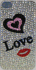 Iphone 4 4S Silver/Pink Heart Bling Crystal Rhinestone Decal Sticker Vinyl Skin