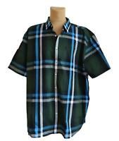 New plus Size Chic Men's short Sleeve Stripes Shirt Olive Size 60/62,64/66,68/70