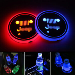 1Pair RGB LED Car Cup Holder Coaster Pad Mat For Jeep Auto Atmosphere Lights