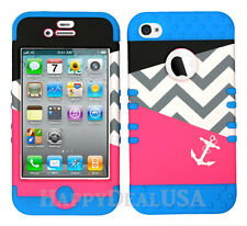 KoolKase Hybrid Silicone Cover Case for Apple iPhone 4 4S - Chevron Anchor 60