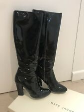 Marc Jacobs Black Patent Knee High Boots Size 6.5 UK 39.5