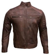 Men's Cafe Racer Biker Leather Jacket Waxed Brown Genuine Leather Jacket