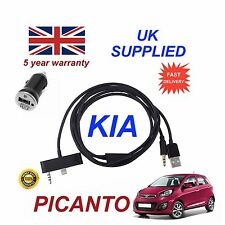 For KIA Picanto iPhone 6Plus 6sPlus 3.5mm USB Aux Audio Cable 1A Power Adapter B