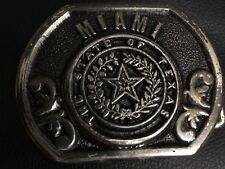 "Vintage Rare Belt Buckle ""Miami State Of Texas"""