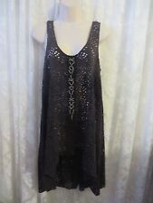 FREE PEOPLE BEACH COVER UP  Summer Boho Beaded Lace Large Charcoal