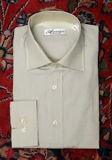 Ancona Men's Beige Luxury Cotton Made In Italy Casual Shirt XL XLarge $295 New