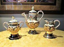 Rare Vintage R. Capodimonte Teapot Sugar Bowl Creamer Set Swiss Reuge Music Box