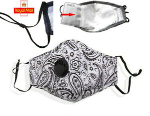 3D Mask White Paisley Cotton Washable with PM.25 Filter Valve Vent Womens Face