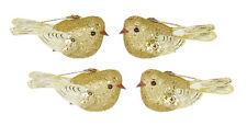 4 X Gold Clip On Paillettes Oiseaux Décorations Pour Arbres De Noël | Mariage Décorations