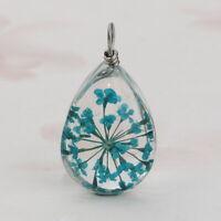 2STKL.Glas Charms Anhänger für Halskette Kette Trockenblume Round Silber KUS
