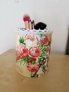 Shabby chic decoupage tins / pen/  brush pots handmade,vintage