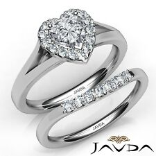1.02ctw Pave Halo Bridal Set Heart Diamond Engagement Ring GIA G-IF White Gold