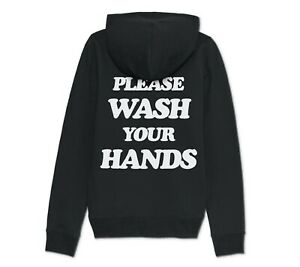 Please Wash Your Hands Hoodie Hoody Retro Back Print Social Distancing Isolation