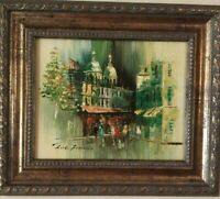 A Mid Century Small Original Paris Cityscape Oil On Board Framed & Signed
