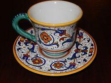 ~DERUTA~  GRAZIA Italian RICCO DERUTA Campanello COFFEE CUP & SAUCER Set