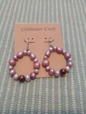 New Coldwater Creek Sterling silver and cultured pearl hoop earrings purple gray