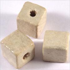 20 Perles Cubes en Bois 12mm Blanc