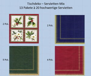 Servietten-Mix - Tischdeko - 13 Pakete à 20 Stück = 260 Servietten . neu und ovp