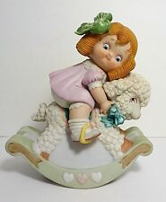 1986 HOUSE OF GLOBAL ART DOLLY DINGLE BISQUE PORCELAIN NURSERY MUSICAL FIGURINE