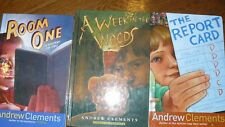 Lot of 3 hard back books Andrew Clements Room One A Week in Woods Report Card