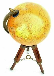 Vintage World Map Table Tripod Globe Vintage Brass Ornament W/ Wooden Stand