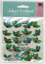 Christmas Holly Repeats Green Glitter & Gem Jolee's 3D Sticker