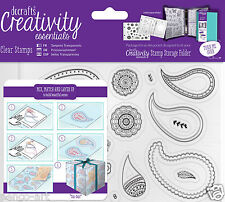 Docrafts Papermania PAISLEY PATTERN A6 stamp set 20pc + storage folder pocket