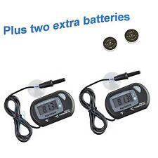 2 pcs Lcd Digital Fish Aquarium Thermometer Water Terrarium Black Free Batteries