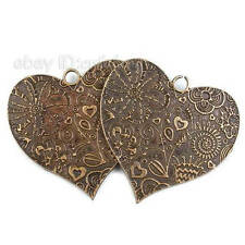 3pcs Vintage Carved Heart Charms Antique Bronze Alloy Jewelry Pendant Findings Q