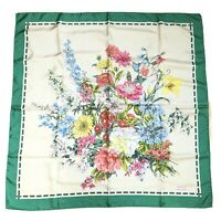 80's Vintage Gucci Accessory Collection Square Silk Scarf Floral Authentic Green