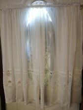 Embroidered Mesh Tulle Lace Curtain Shabby Country Chic White Vtg