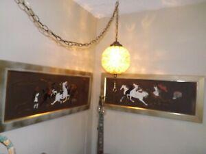 Pair Roman Horses & Chariots 50s Mid Century Vintage MCM Turner Wall Accessory