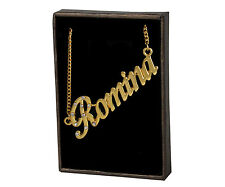 """18K White Gold Plated Name Necklace """"Romina"""" Birthday Valentines Jewelry Gift"""