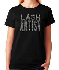 "Women's / Unisex Rhinestone T-shirt "" Lash Artist """