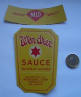 RARE ANTIQUE  WEN-DREE SAUCE BALLARAT BOTTLE LABELS SET