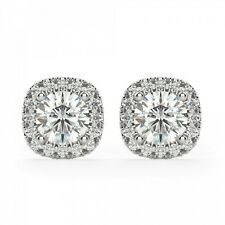 1.00 Carat Round Diamond Halo Stud Solitaire Earrings 14K White Gold Over