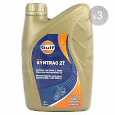 Gulf Syntrac 2T Synthetic Low Smoke 2-Stroke Motorcycle Oil - 3 x 1 Litre 3L