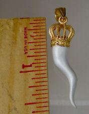 Italian Horn pendant Jewelry .925 sterling silver 40 mm 10k plate crown