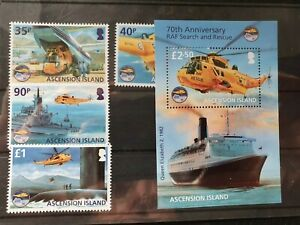 Ascension 2011 70th Anniv of RAF Search and Rescue set of 4 and MS, MNH