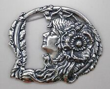 #3353 ANTIQUED SS/P VICTORIAN GIRL/FLORAL BROOCH - 1 Pc Lot