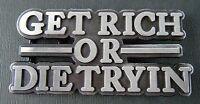 Get Rich Or Die Trying Belt Buckle Funny Money Humor Metal Boucle de Ceinture