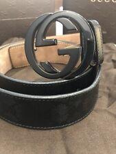 Authentic GUCCI Men's Belt Size 38 - Black Imprime and Black Buckle
